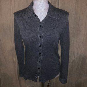giorgio armani gray black stripe button down top S